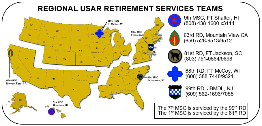 US Army Reserve State / Territory Benefits Map