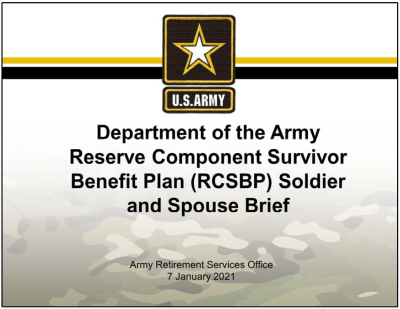 DA Reserve Component Survivor Benefit Plan (RCSBP) Soldier Brief - PPT